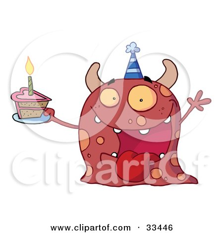 Clipart Illustration of an Excited Birthday Monster Wearing A Party Hat And Holding A Slice Of Cake, Screaming And Holding An Arm Up by Hit Toon