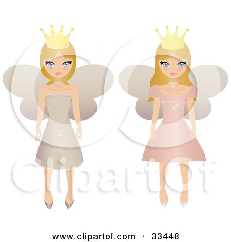 Clipart Illustration of Two Blond Fairy Princesses In Beige And Pink Dresses, Wearing Crowns by Melisende Vector