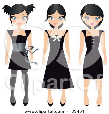Clipart Illustration of Three Black Haired Teen Girls In Different Styled Black Dresses, On A White Background by Melisende Vector