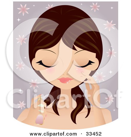 Clipart Illustration of a Pretty Brunette Caucasian Woman With Flushed Cheeks, Spraying Perfume Or Facial Mist On Her Face, Over A Floral Purple Background by Melisende Vector