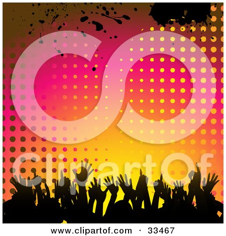Clipart Illustration of a Silhouetted Crowd Dancing Against A Gradient Pink, Orange And Yellow Background Of Dots And Grunge by elaineitalia