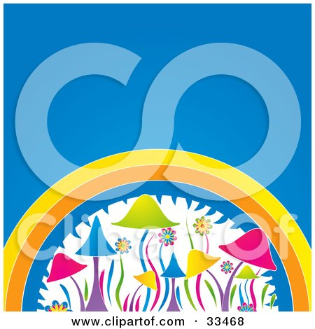Funky Colorful Flowers And Mushrooms Under A Rainbow On A Blue Background Posters, Art Prints