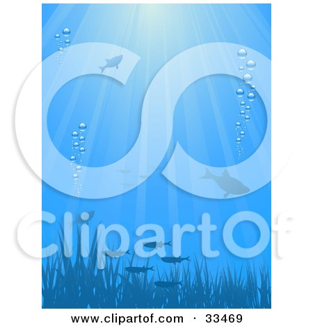 Clipart Illustration of an Underwater Scene Of Silhouetted Fish And Grass With Bubbles And Rays Of Sunlight, In Blue Tones by elaineitalia