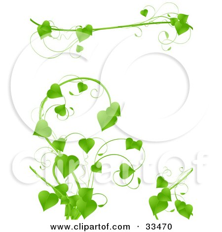 Clipart Illustration of a Lush Green Vine With Heart Shaped Leaves Growing On A White Background by elaineitalia