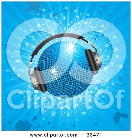 Clipart Illustration of a Sparkling Blue Disco Ball Wearing Headphones, Over A Sparkling Blue Grunge Background by elaineitalia
