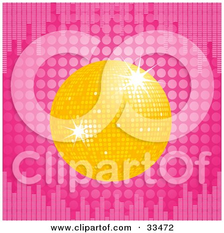 Clipart Illustration of a Sparkling Yellow Disco Ball Over A Pink Dotted Background With Equalizer Bars by elaineitalia