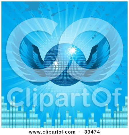 Clipart Illustration of a Sparkling Blue Disco Ball With Wings, Over A Bursting Blue Background With Grunge Splatters And Equalizer Bars by elaineitalia