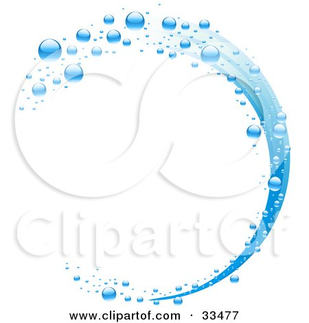 Clipart Illustration of a Wave Of Blue Water And Bubbles Over A White Background by elaineitalia