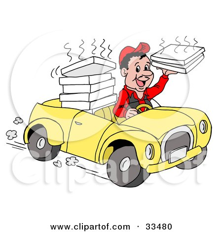 Royalty-free people clipart picture of a friendly pizza delivery boy driving