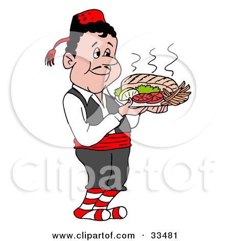 Clipart Illustration of a Pleasant Greek Waitor Serving A Platter Of Souvlaki by LaffToon