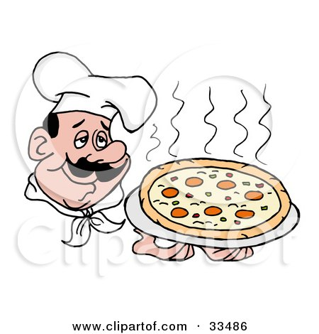 Clipart Illustration of a Pleasant Chef In A Hat, Holding A Steaming Pepperoni Pizza Pie by LaffToon