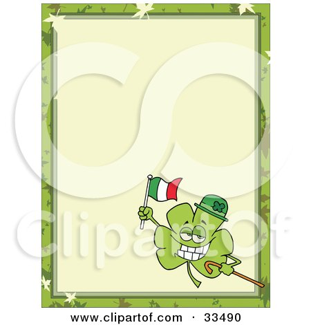 Clipart Illustration of a St Paddy's Day Clover Wearing A Hat, Carrying A Cane And Flag, In The Corner Of A Stationery Background Or Blank Menu by Hit Toon