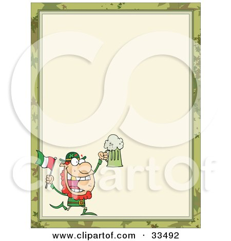 Clipart Illustration of a St Paddy's Day Leprechaun Running With A Beer And Flag, In The Corner Of A Stationery Background Or Blank Menu by Hit Toon