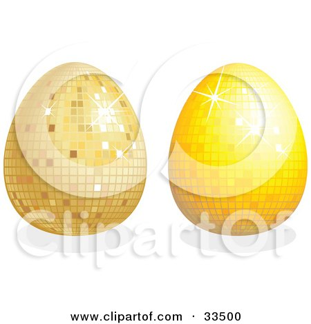 Clipart Illustration of Two Disco Easter Eggs, One Gold And One Yellow, With Shadows by suzib_100