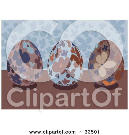 Clipart Illustration of Three Floral Easter Eggs On A Brown Surface, With A Blue Background by suzib_100