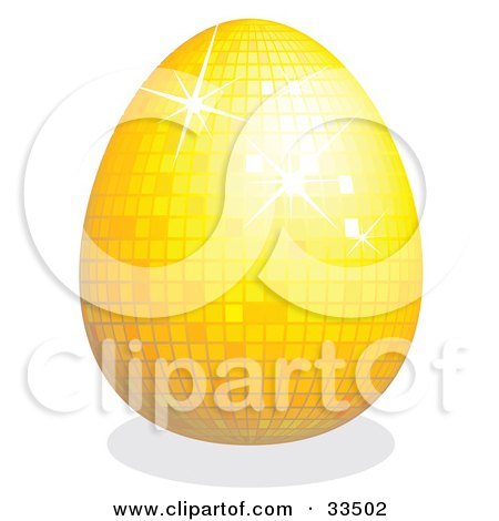 Clipart Illustration of a Sparkling Yellow Disco Easter Egg by suzib_100