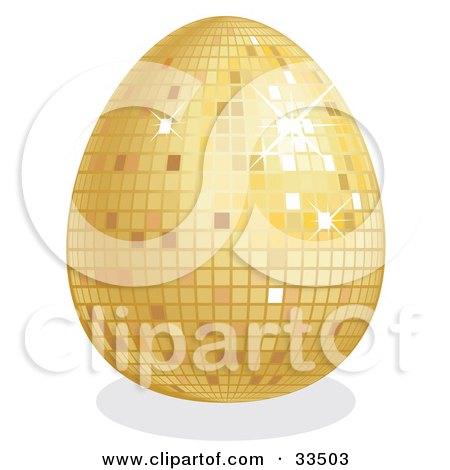 Clipart Illustration of a Sparkling Golden Disco Easter Egg by suzib_100