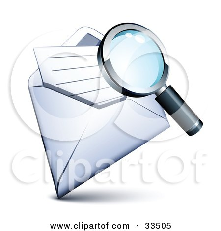 Clipart Illustration of a Magnifying Glass Inspecting A Letter In An Open Envelope by beboy