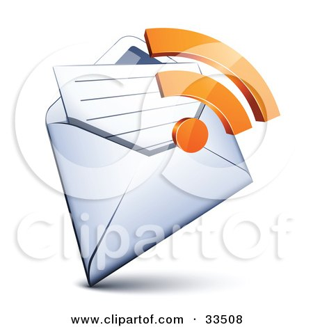Clipart Illustration of an Orange RSS Symbol Over An Open Envelope With A Letter by beboy