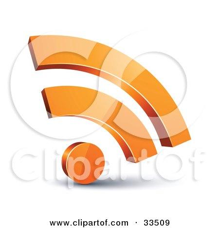 Clipart Illustration of a Reflective 3d Orange RSS Symbol by beboy