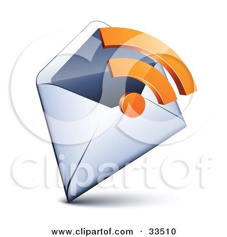Clipart Illustration of an Orange RSS Symbol Over An Open Envelope by beboy