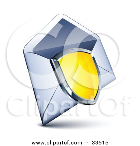 Clipart Illustration of a Shiny Yellow Shield With A Chrome Frame, Over An Open Envelope by beboy