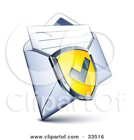 Clipart Illustration of a Check Mark On A Yellow Shield Over A Letter In An Open Envelope by beboy