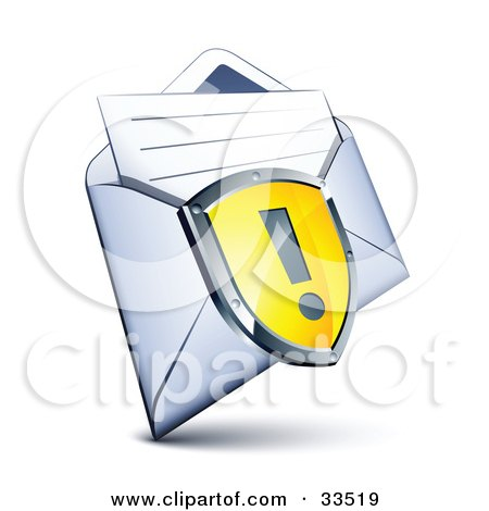 Clipart Illustration of an Exclamation Point On A Yellow Shield Over A Letter In An Open Envelope by beboy