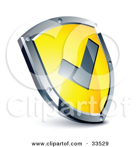 Clipart Illustration of a Check Mark On A Yellow Shield by beboy