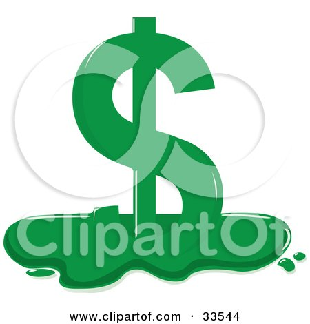 Clipart Illustration of a Melting Green Dollar Sign by Maria Bell