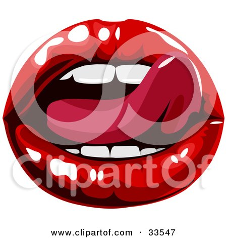 Clipart Illustration of a Sexy Woman's Tongue Licking Her Luscious Red Lips by AtStockIllustration