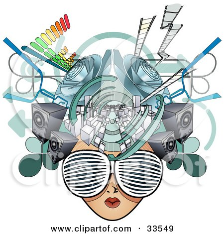Clipart Illustration of a Female Media Head With Visual Glasses, Speakers, Equalizers And Arrows by AtStockIllustration