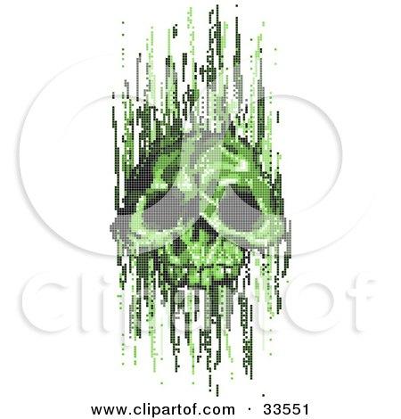 Clipart Illustration of a Green Pixel Skull Virus by AtStockIllustration