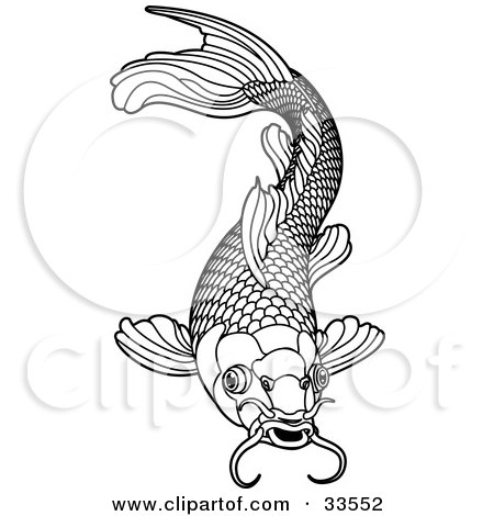 Clipart Illustration of a Black And White Koi Fish With Scales And Whiskers by AtStockIllustration