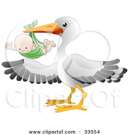 Clipart Illustration of a White Stork Bird With Black Tipped Wings, Carrying A Happy Baby In A Green Cloth by AtStockIllustration