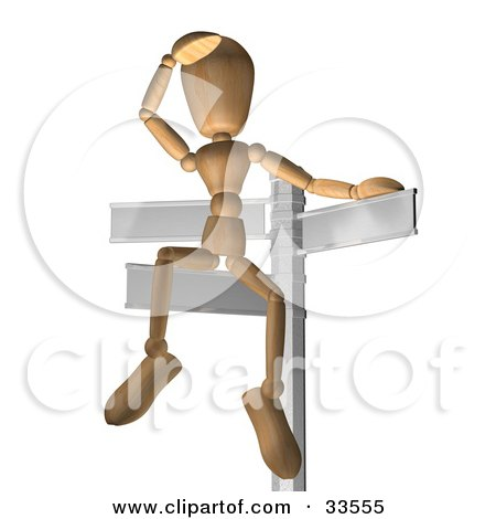 Clipart Illustration of a Wooden Figure Seated On A Sign Post, Looking Out Into The Distance, Symbolizing Opportunity And Options by AtStockIllustration