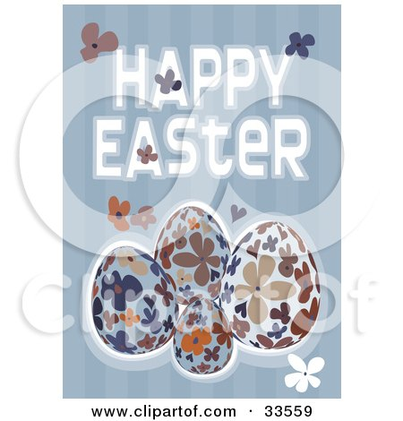 Clipart Illustration of a Happy Easter Greeting With Floral Eggs And Flowers On A Striped Blue Background by suzib_100