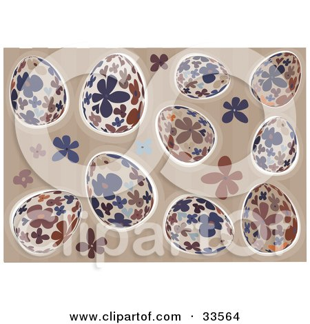Clipart Illustration of a Background Of Blue, Beige, And Brown Floral Easter Eggs On A Striped Background With Flowers by suzib_100