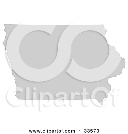 Clipart Illustration of a Gray State Silhouette Of Iowa, United States, On A White Background by Jamers
