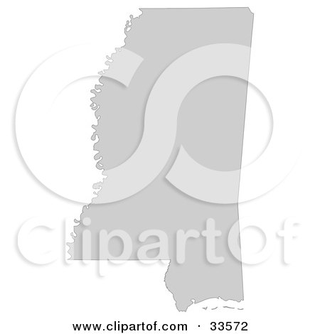 Clipart Illustration of a Gray State Silhouette Of Mississippi, United States, On A White Background by Jamers