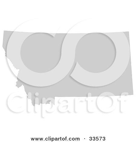 Clipart Illustration of a Gray State Silhouette Of Montana, United States, On A White Background by Jamers