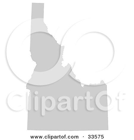 Clipart Illustration of a Gray State Silhouette Of Idaho, United States, On A White Background by Jamers