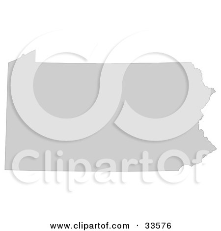 Clipart Illustration of a Gray State Silhouette Of Pennsylvania, United States, On A White Background by Jamers