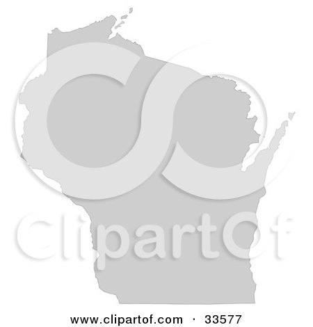 Clipart Illustration of a Gray State Silhouette Of Wisconsin, United States, On A White Background by Jamers