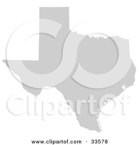 Clipart Illustration of a Gray State Silhouette Of Texas, United States, On A White Background by Jamers