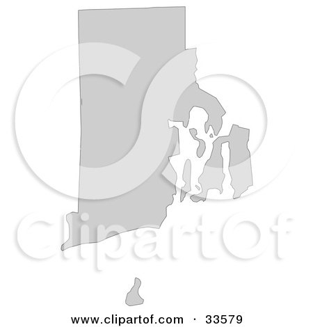 Clipart Illustration of a Gray State Silhouette Of Rhode Island, United States, On A White Background by Jamers