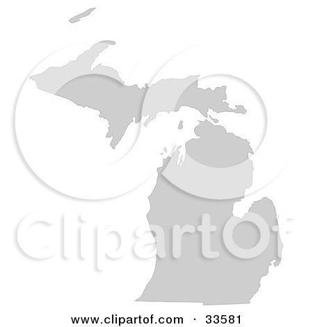Clipart Illustration of a Gray State Silhouette Of Michigan, United States, On A White Background by Jamers
