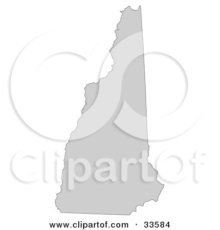 Clipart Illustration of a Gray State Silhouette Of New Hampshire, United States, On A White Background by Jamers