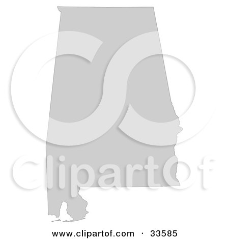 Clipart Illustration of a Gray State Silhouette Of Alabama, United States, On A White Background by Jamers