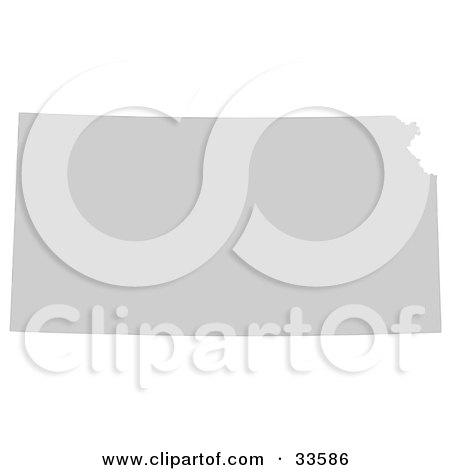 Clipart Illustration of a Gray State Silhouette Of Kansas, United States, On A White Background by Jamers